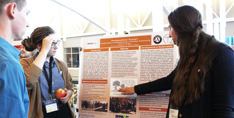 Hiram College students present Permaculture Corner poster